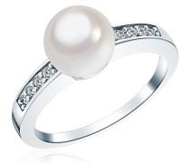 Damen-Ring 925 Sterling Silber Südsee-Muschelkernperle weiß Zirkonia weiss - Silberring mit Perle und Zirkonia farblos Perlenring 60800076