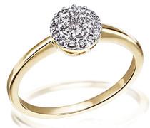 Damen-Ring Gelb Gold 585 21 Diamanten 0,25 Karat Glamourfassung, Grösse 56 Brillanten  Diamantring Verlobung