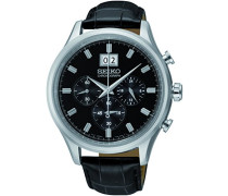 Seiko-SPC083P2-Armbanduhr-Quarz Chronograph-Schwarzes Ziffernblatt-Armband Leder Schwarz