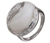 Damen-Ring 925 Sterling Silber rhodiniert Perlmutt Zirkonia