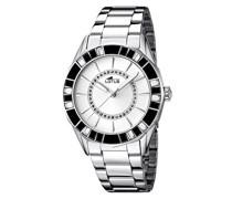 Damen Quarzuhr mit weißem Zifferblatt Analog-Anzeige und Silber Edelstahl Armband 15891/1