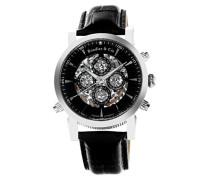Automatik Armbanduhr von  für Männer mit einem echten Diamanten mit Schwarzem Zifferblatt Analoger Anzeige und Schwarzem Armband aus Leder SK14H053