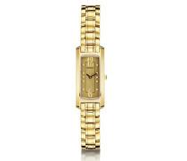 Kurzurlaub Damen Quarzuhr mit Gold Zifferblatt Analog-Anzeige und Armband Edelstahl vergoldet 1064/BP13