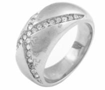 Damen-D21066Z56 MONOGRAMM-Damen-Ring Edelstahl Zirkonia weiß, Größe 56