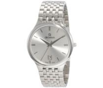 Herren-Quarzuhr 2013.1137Schweizer Uhr mit schwarzem Zifferblatt Analog-Anzeige und Silber Edelstahl Armband
