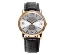Quartz Armbanduhr von  für Männer mit Original Schweizer Uhrwerk mit Silberfarbenem Zifferblatt Analoger Anzeige und Schwarzem Armband aus Leder BSSM202