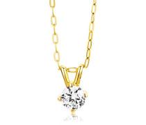 Damen-Halskette 375 Gelbgold 1 Zirkonia farblos 45 cm