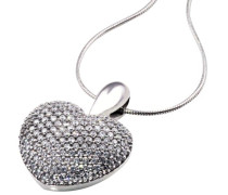 Damen-Halskette Herz Weissgold 1ct 164 Diamanten Pa C710WG Herzkette Schmuck Diamantkette