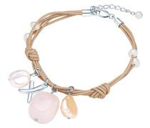 Classic Collection Damen-Armband Hochwertige Süßwasser-Zuchtperlen in ca.  4-10 mm Barock weiß / champagner Armschmuck Sonstige Leder beige Rosenquarz 18 cm + 5 cm   60201606