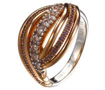 Damen-Ring 925 Sterling Silber rhodiniert Glas Zirkonia Onde violett