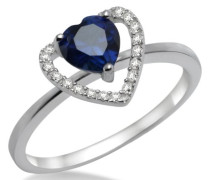 Miore Damen-Ring 925 Sterling-Silber hochglanzpoliert Herz  Blau und weiß Zirkonia MPS015RM