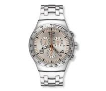 Swatch Herren-Armbanduhr XL Classic  Shiny Addict Chronograph Quarz Edelstahl YOS445G