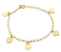 Damen-Armband 9 Karat 375 Gelbgold Herzanhänger 19cm