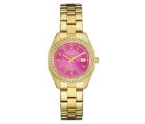 Caravelle New York Damen-Armbanduhr PINK und GOLD Analog Quarz Edelstahl beschichtet 44M107
