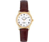 –646241Damen-Armbanduhr–Quarz Analog–Weißes Ziffernblatt–Armband Leder braun