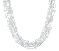 Valero Pearls Classic Collection Damen-Kette Hochwertige Süßwasser-Zuchtperlen in ca.  6 mm Barock weiß 925 Sterling Silber    43 cm + 5 cm Verlängerung   60201080