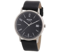 Boccia Herren-Armbanduhr XL Analog Leder 3557-02