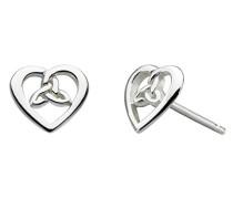 Ohrstecker aus Sterling-Silber in Herzform, keltisches Design