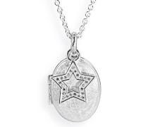 Heartbreaker Damen- Medaillon MyName zum aufklappen Silber eismatt mit Sterneinhänger und Zirkoniapavée ohne Gravur LD MY 353 5