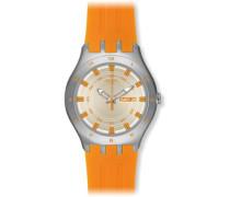 Swatch Herren-Armbanduhr XL Irony New Big Apricotime Analog Quarz Silikon YTS712