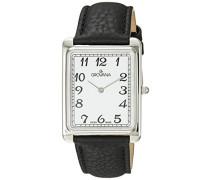 1040.1533Herren Schweizer Uhr mit weißem Zifferblatt Analog-Anzeige Quarz und Schwarz Lederband