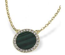 Damen-Halskette 375 Gelbgold Malachit grün Kettenanhänger Schmuck