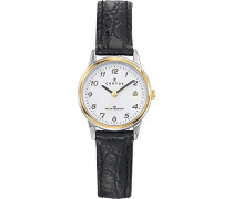 –645352Damen-Armbanduhr–Quarz Analog–Weißes Ziffernblatt–Armband Leder Schwarz