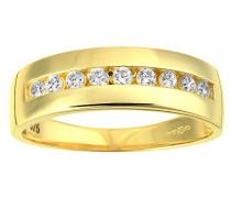 Damen-Ring 9 Karat 375 Gelbgold Rundschliff Diamant R1633Y-J