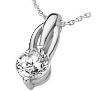 Damen Halskette 925 Sterling Silber Zirkonia Silber