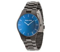 Police Splendor Herren Mechanische Armbanduhr mit Blau Zifferblatt Analog Display und grau Edelstahl Armband 14640MSU/70m