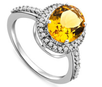 Damen-Ring 375 Weißgold ovale Citrin Brillanten