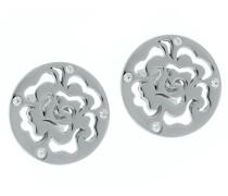 Damen-Ohrstecker 925 Silber rhodiniert Zirkonia weiß Rundschliff - ZO-7079