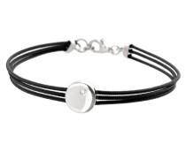Damen-Armband, CDMC570 rund Sterling-Silber 925/1000 Diamant 0,015 kt-Weiß - 3-Draht - 17,5 cm, Schwarz