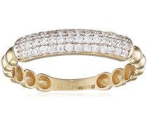 Damen-Ring 9 K Gelbgold Oxyde de Zirconium weiß Rundschliff
