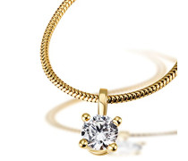 Damen-Kette mit Anhänger Solitär 4er Stotzen, inklusiv externer Expertise 750 Diamant (0.50 ct) weiß Brillantschliff 45 cm - So C6736