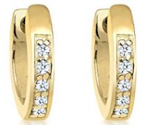 Premium Damen-Creolen Klassiker 375 Gelbgold Diamant (0.10 ct) Brillantschliff weiß - 0311971814