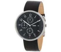 –al6021–Zeigt Herren–Automatische–Analog–Armband Leder Schwarz