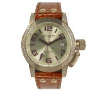 Jet set-j2068s-736-san Remo Lady Damen Armbanduhr Analog Quarz Golden Zifferblatt braun Lederband