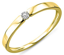 Damen-Ring Solitaire 9 Karat ( 375 ) Gelbgold mit Brillant 0.05ct Diamant weiß Rundschliff