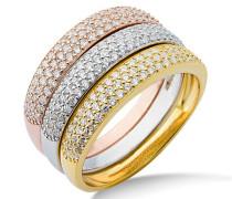 Damen-Ring 925 Sterling Silber 3-teilig Zirkonia