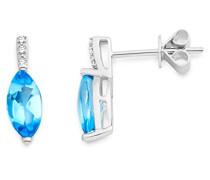 Damen-Ohrstecker 9 Karat 375 Weißgold rhodiniert Topas blau Marquiseschliff Diamant - MKW9089E