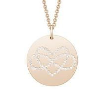 Damen Kette 42+3 cm längenverstellbar mit Anhänger Infinity Herz rosévergoldet veredelt mit Swarovski Kristallen