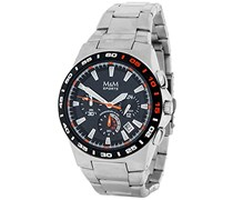 M&M Herren-Armbanduhr Chronograph Quarz Edelstahl M11683-145