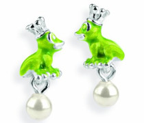 Damen- Ohrstecker Froggy 925 Silber Brandlack Perle weiß LD FG 24 PW