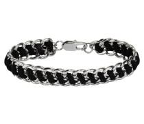 Stainless Steel Damen-Armband 19,5cm Textil schwarz 389060196