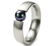 Damen-Ring Edelstahl 1 Süßwasserperle grau