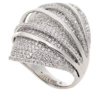 Damen-Ring High-End Micro Pave 925 SterlingSilber mit Zirkonia