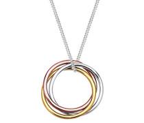 Damen Schmuck Halskette Kette mit Anhänger Tricolor Kreise Geo Silber 925 Rosé Vergoldet Länge 45 cm