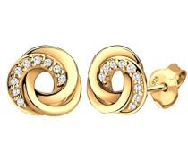 Damen-Ohrstecker Spirale 925 Silber Zirkonia Brillantschliff weiß   - 0310322014