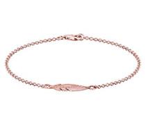 Damen Schmuck Echtschmuck Armband Gliederarmband Feder Boho Sterling Silber 925 Rosé Vergoldet Länge 18 cm